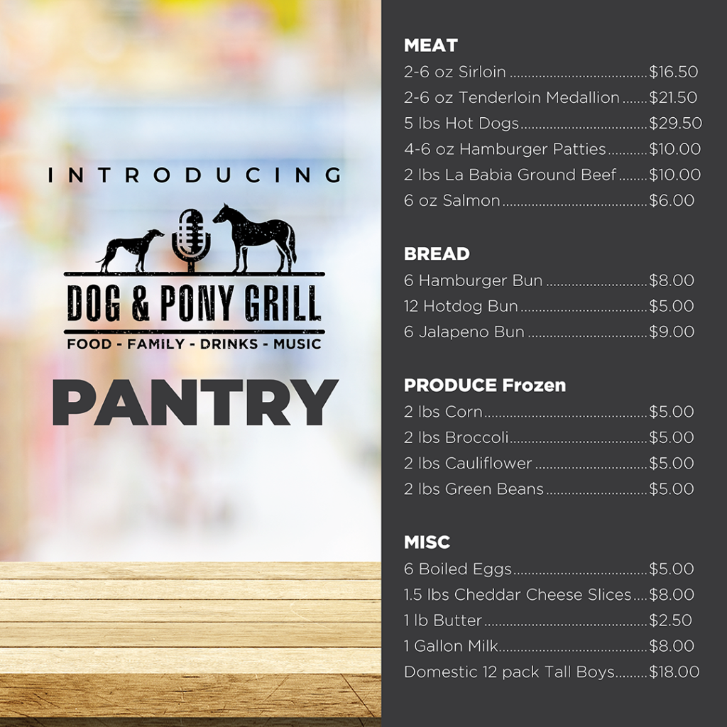 pdf with pantry options from Dog and Pony Grill